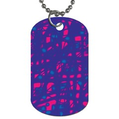 Blue and pink neon Dog Tag (Two Sides)