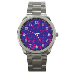 Blue and pink neon Sport Metal Watch