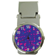 Blue and pink neon Money Clip Watches