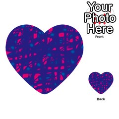 Blue and pink neon Multi-purpose Cards (Heart)
