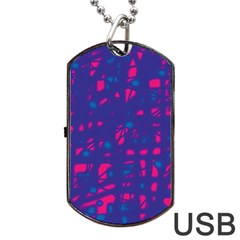 Blue and pink neon Dog Tag USB Flash (One Side)