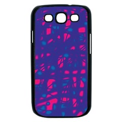 Blue and pink neon Samsung Galaxy S III Case (Black)