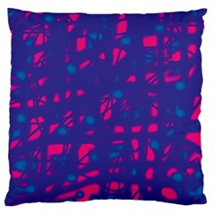 Blue and pink neon Large Cushion Case (One Side)