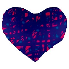 Blue and pink neon Large 19  Premium Heart Shape Cushions