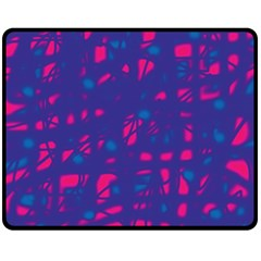 Blue and pink neon Double Sided Fleece Blanket (Medium)