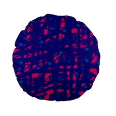 Blue and pink neon Standard 15  Premium Flano Round Cushions