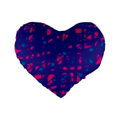 Blue and pink neon Standard 16  Premium Flano Heart Shape Cushions