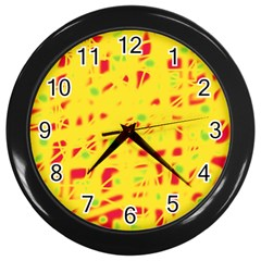 Yellow and red Wall Clocks (Black)