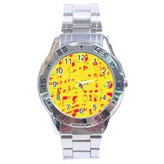 Yellow and red Stainless Steel Analogue Watch