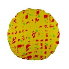 Yellow and red Standard 15  Premium Round Cushions