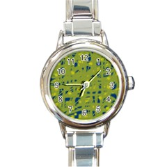 Green and blue Round Italian Charm Watch