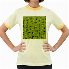 Green and blue Women s Fitted Ringer T-Shirts