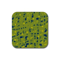 Green and blue Rubber Square Coaster (4 pack)