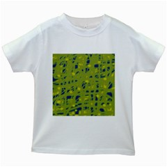 Green and blue Kids White T-Shirts
