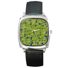 Green and blue Square Metal Watch