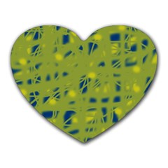 Green and blue Heart Mousepads