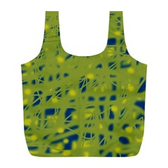 Green and blue Full Print Recycle Bags (L)