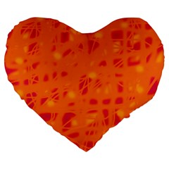Orange Large 19  Premium Flano Heart Shape Cushions