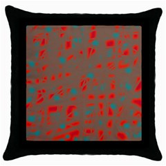Red and brown Throw Pillow Case (Black)