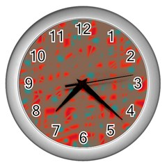 Red and brown Wall Clocks (Silver)