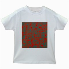 Red and brown Kids White T-Shirts