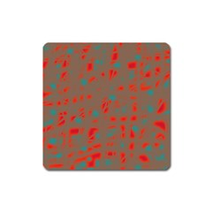 Red and brown Square Magnet