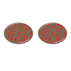 Red and brown Cufflinks (Oval)