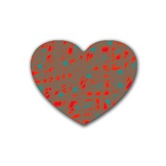 Red and brown Rubber Coaster (Heart)