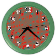 Red and brown Color Wall Clocks