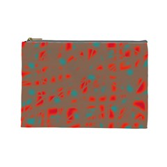 Red and brown Cosmetic Bag (Large)