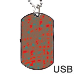 Red and brown Dog Tag USB Flash (Two Sides)