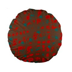 Red and brown Standard 15  Premium Round Cushions