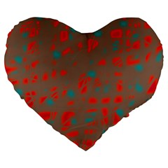 Red and brown Large 19  Premium Heart Shape Cushions