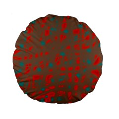 Red and brown Standard 15  Premium Flano Round Cushions