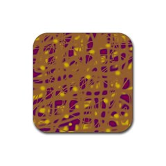 Brown and purple Rubber Square Coaster (4 pack)