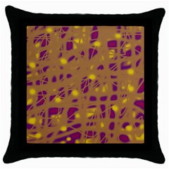 Brown and purple Throw Pillow Case (Black)