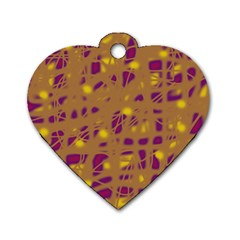 Brown and purple Dog Tag Heart (Two Sides)