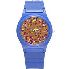 Brown and purple Round Plastic Sport Watch (S)