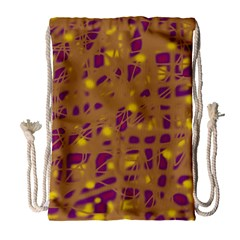Brown and purple Drawstring Bag (Large)