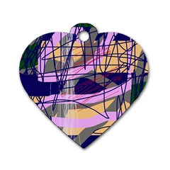 Abstract high art by Moma Dog Tag Heart (Two Sides)