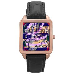 Abstract high art by Moma Rose Gold Leather Watch