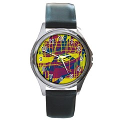 Yellow high art abstraction Round Metal Watch