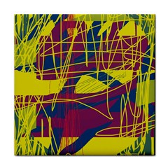 Yellow high art abstraction Tile Coasters