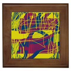 Yellow high art abstraction Framed Tiles