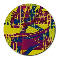 Yellow high art abstraction Round Mousepads