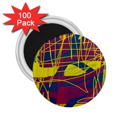 Yellow high art abstraction 2.25  Magnets (100 pack)
