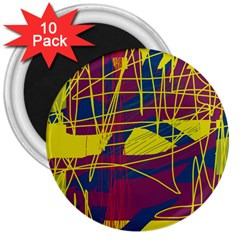 Yellow high art abstraction 3  Magnets (10 pack)