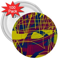 Yellow high art abstraction 3  Buttons (100 pack)