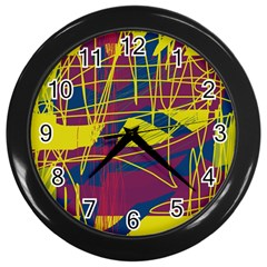 Yellow high art abstraction Wall Clocks (Black)