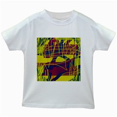 Yellow high art abstraction Kids White T-Shirts